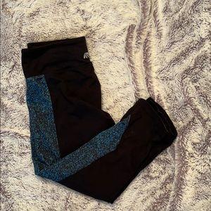 Black Crop Leggings with Blue Speckled Pattern
